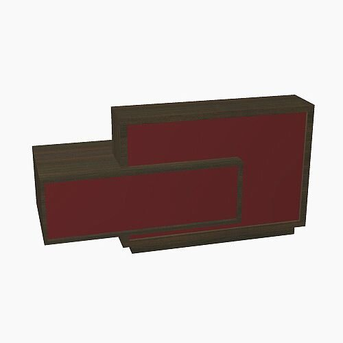 Foro Modern Design Reception Desk With High Gloss Burgundy Front and Chestnut Carcass &Right Low Level Section W2100mmxD800mmxH1100mm
