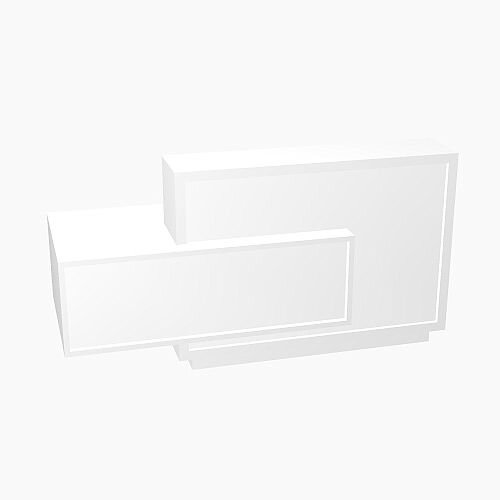 Foro Modern Design Reception Desk With High Gloss White Front and White Pastel Carcass &Right Low Level Section  W2100mmxD800mmxH1100mm