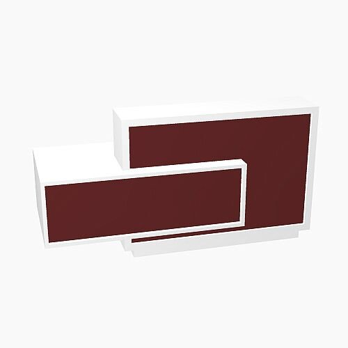 Foro Modern Design Reception Desk With High Gloss Burgundy Front and White Pastel Carcass &Right Low Level Section W2100mmxD800mmxH1100mm