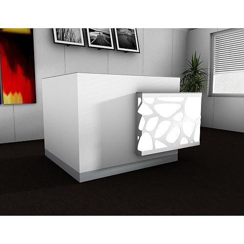 Organic Modern Illuminated White Corner Reception Desk with Left Decorative Element W1700mmxD1370mmxH1105mm