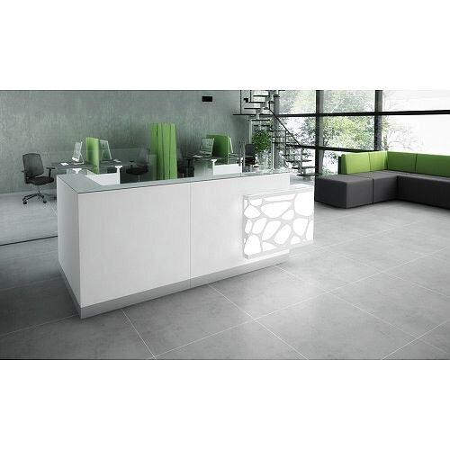Organic Modern Illuminated White Corner Reception Desk with Left Decorative Element W2700mmxD1370mmxH1105mm