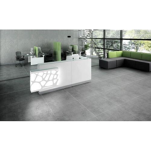Organic Modern Illuminated White Corner Reception Desk with Right Decorative Element W2700mmxD1370mmxH1105mm
