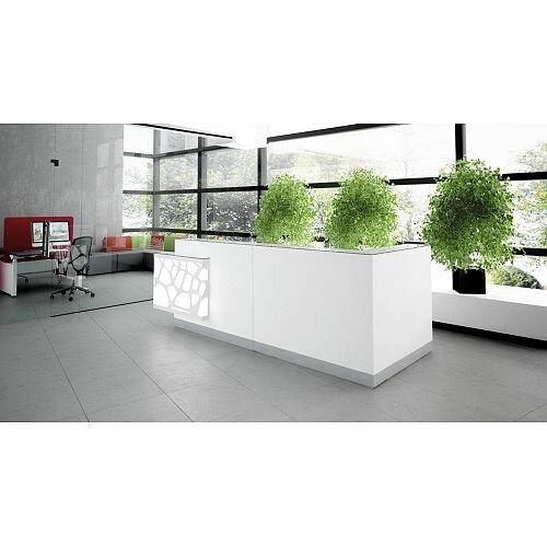 Organic Modern Illuminated White Corner Reception Desk with Left Decorative Element W3100mmxD1370mmxH1105mm