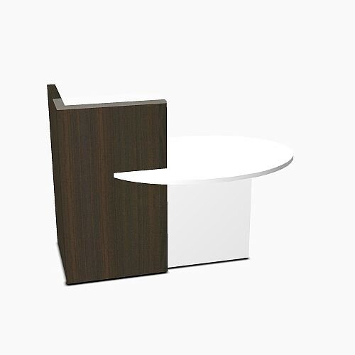 Ovo Small Reception Desk Chestnut with Left White Pastel Low Level Section