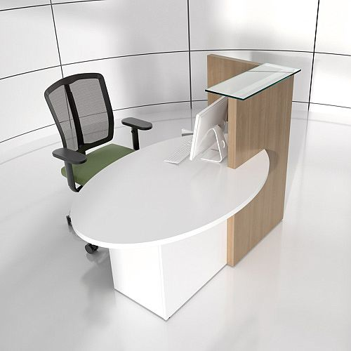Ovo Small Reception Desk Cocoa with Right White Pastel Low Level Section