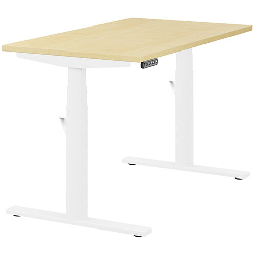 LEAP Electric Height Adjustable Rectangular Sit Stand Desk Plain Top W1200xD700xH620-1270mm Maple Top White Frame. Prevents &Reduces Muscle &Back Problems, Heart Risks &Increases Brain Activity.