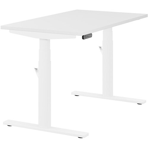 LEAP Electric Height Adjustable Rectangular Sit Stand Desk Plain Top W1200xD700xH620-1270mm White Top White Frame. Prevents &Reduces Muscle &Back Problems, Heart Risks &Increases Brain Activity.