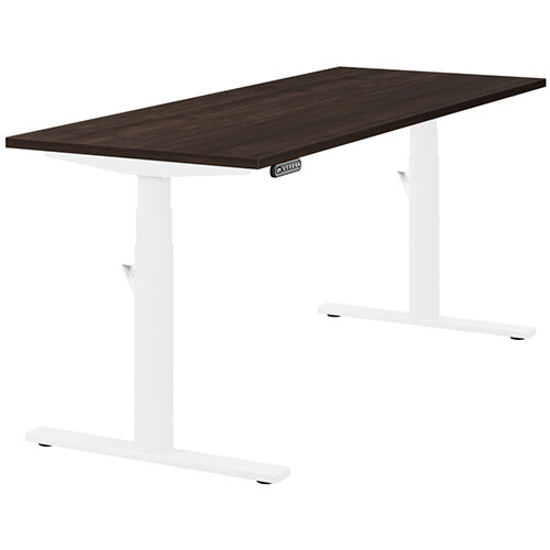 LEAP Electric Height Adjustable Rectangular Sit Stand Desk Plain Top W1800xD700xH620-1270mm Dark Walnut Top White Frame. Prevents &Reduces Muscle &Back Problems, Heart Risks &Increases Brain Activity.