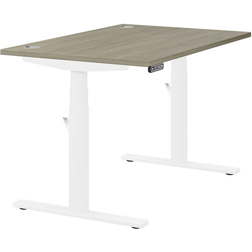 LEAP Electric Height Adjustable Rectangular Sit Stand Desk Portal Top W1200xD800xH620-1270mm Arctic Oak Top White Frame. Prevents &Reduces Muscle &Back Problems, Heart Risks &Increases Brain Activity.