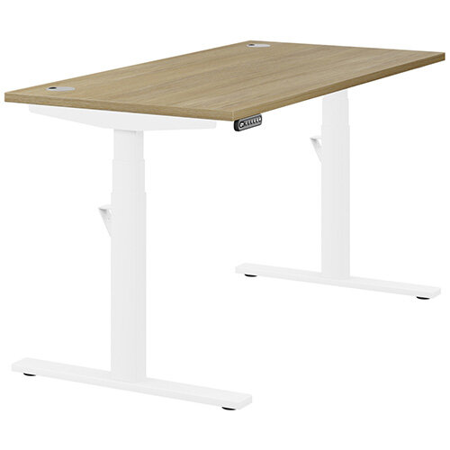 LEAP Electric Height Adjustable Rectangular Sit Stand Desk Portal Top W1400xD700xH620-1270mm Urban Oak Top White Frame. Prevents &Reduces Muscle &Back Problems, Heart Risks &Increases Brain Activity.