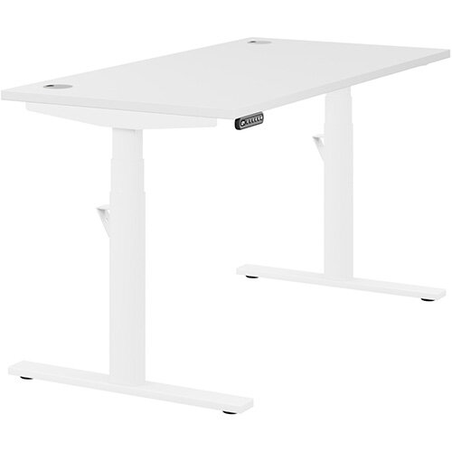 LEAP Electric Height Adjustable Rectangular Sit Stand Desk Portal Top W1400xD700xH620-1270mm White Top White Frame. Prevents &Reduces Muscle &Back Problems, Heart Risks &Increases Brain Activity.