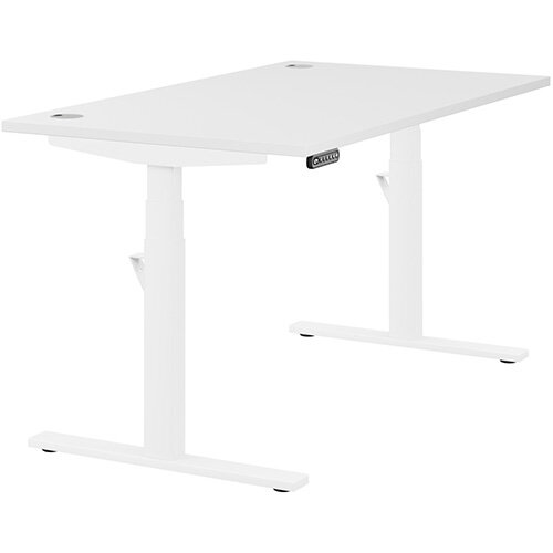 LEAP Electric Height Adjustable Rectangular Sit Stand Desk Portal Top W1400xD800xH620-1270mm White Top White Frame. Prevents &Reduces Muscle &Back Problems, Heart Risks &Increases Brain Activity.