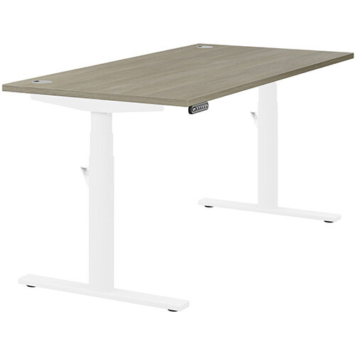 LEAP Electric Height Adjustable Rectangular Sit Stand Desk Portal Top W1600xD800xH620-1270mm Arctic Oak Top White Frame. Prevents &Reduces Muscle &Back Problems, Heart Risks &Increases Brain Activity.