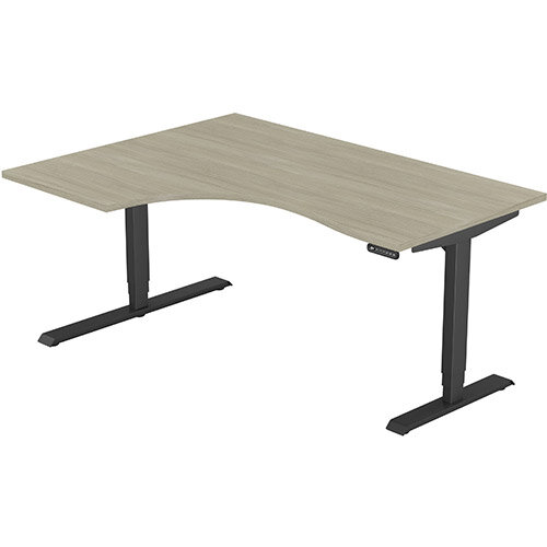 LEAP Electric Height Adjustable Radial Left Hand Sit Stand Desk Plain Top W1600xD1200/800xH620-1270mm Arctic Oak Top Black Frame. Prevents &Reduces Muscle &Back Problems, Heart Risks &Increases Brain Activity.