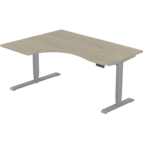 LEAP Electric Height Adjustable Radial Left Hand Sit Stand Desk Plain Top W1600xD1200/800xH620-1270mm Arctic Oak Top Silver Frame. Prevents &Reduces Muscle &Back Problems, Heart Risks &Increases Brain Activity.