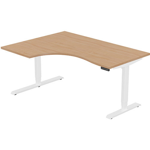 LEAP Electric Height Adjustable Radial Left Hand Sit Stand Desk Plain Top W1600xD1200/800xH620-1270mm Beech Top White Frame. Prevents &Reduces Muscle &Back Problems, Heart Risks &Increases Brain Activity.