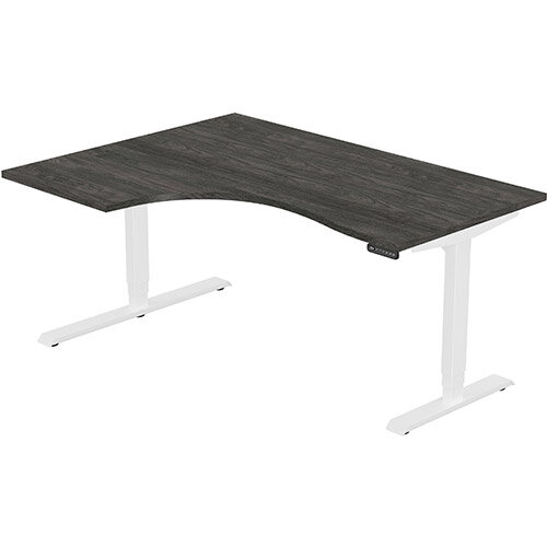 LEAP Electric Height Adjustable Radial Left Hand Sit Stand Desk Plain Top W1600xD1200/800xH620-1270mm Carbon Walnut Top White Frame. Prevents &Reduces Muscle &Back Problems, Heart Risks &Increases Brain Activity.
