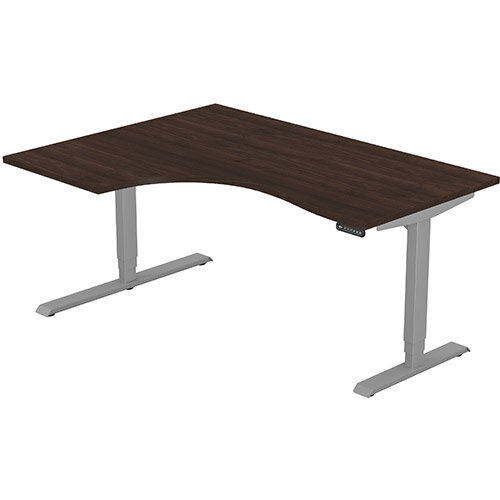LEAP Electric Height Adjustable Radial Left Hand Sit Stand Desk Plain Top W1600xD1200/800xH620-1270mm Dark Walnut Top Silver Frame. Prevents &Reduces Muscle &Back Problems, Heart Risks &Increases Brain Activity.