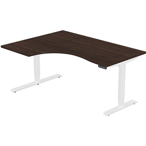 LEAP Electric Height Adjustable Radial Left Hand Sit Stand Desk Plain Top W1600xD1200/800xH620-1270mm Dark Walnut Top White Frame. Prevents &Reduces Muscle &Back Problems, Heart Risks &Increases Brain Activity.