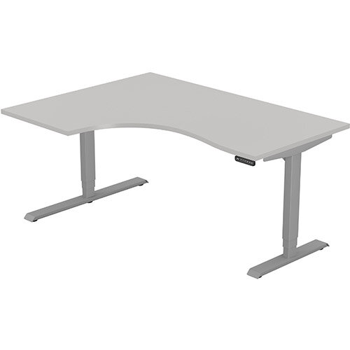 LEAP Electric Height Adjustable Radial Left Hand Sit Stand Desk Plain Top W1600xD1200/800xH620-1270mm Grey Top Silver Frame. Prevents &Reduces Muscle &Back Problems, Heart Risks &Increases Brain Activity.