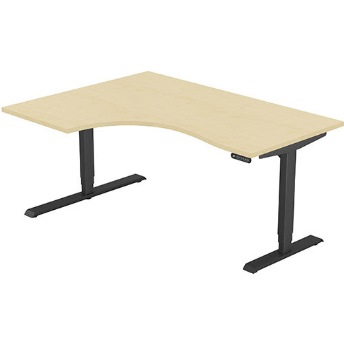 LEAP Electric Height Adjustable Radial Left Hand Sit Stand Desk Plain Top W1600xD1200/800xH620-1270mm Maple Top Black Frame. Prevents &Reduces Muscle &Back Problems, Heart Risks &Increases Brain Activity.