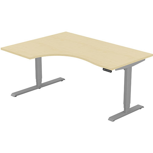 LEAP Electric Height Adjustable Radial Left Hand Sit Stand Desk Plain Top W1600xD1200/800xH620-1270mm Maple Top Silver Frame. Prevents &Reduces Muscle &Back Problems, Heart Risks &Increases Brain Activity.