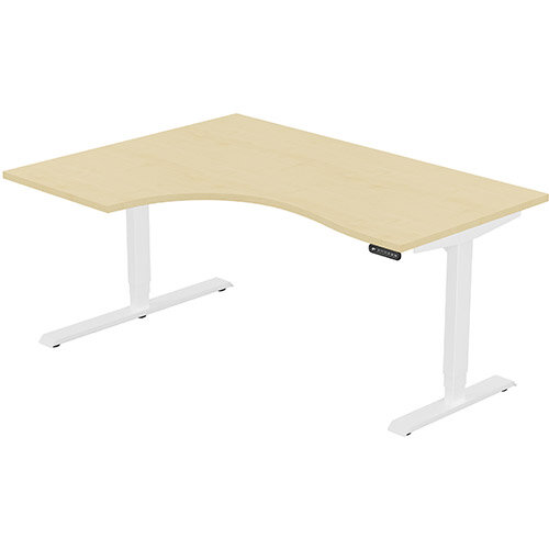 LEAP Electric Height Adjustable Radial Left Hand Sit Stand Desk Plain Top W1600xD1200/800xH620-1270mm Maple Top White Frame. Prevents &Reduces Muscle &Back Problems, Heart Risks &Increases Brain Activity.
