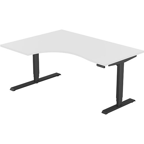 LEAP Electric Height Adjustable Radial Left Hand Sit Stand Desk Plain Top W1600xD1200/800xH620-1270mm White Top Black Frame. Prevents &Reduces Muscle &Back Problems, Heart Risks &Increases Brain Activity.