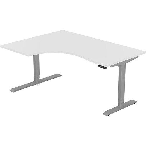 LEAP Electric Height Adjustable Radial Left Hand Sit Stand Desk Plain Top W1600xD1200/800xH620-1270mm White Top Silver Frame. Prevents &Reduces Muscle &Back Problems, Heart Risks &Increases Brain Activity.