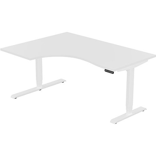 LEAP Electric Height Adjustable Radial Left Hand Sit Stand Desk Plain Top W1600xD1200/800xH620-1270mm White Top White Frame. Prevents &Reduces Muscle &Back Problems, Heart Risks &Increases Brain Activity.