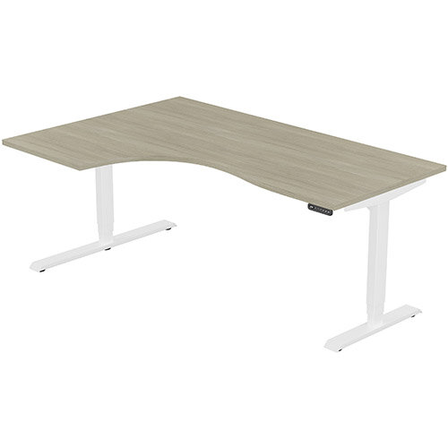 LEAP Electric Height Adjustable Radial Left Hand Sit Stand Desk Plain Top W1800xD1200/800xH620-1270mm Arctic Oak Top White Frame. Prevents &Reduces Muscle &Back Problems, Heart Risks &Increases Brain Activity.