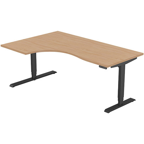 LEAP Electric Height Adjustable Radial Left Hand Sit Stand Desk Plain Top W1800xD1200/800xH620-1270mm Beech Top Black Frame. Prevents &Reduces Muscle &Back Problems, Heart Risks &Increases Brain Activity.