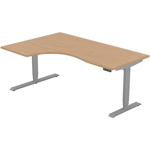 LEAP Electric Height Adjustable Radial Left Hand Sit Stand Desk Plain Top W1800xD1200/800xH620-1270mm Beech Top Silver Frame. Prevents &Reduces Muscle &Back Problems, Heart Risks &Increases Brain Activity.