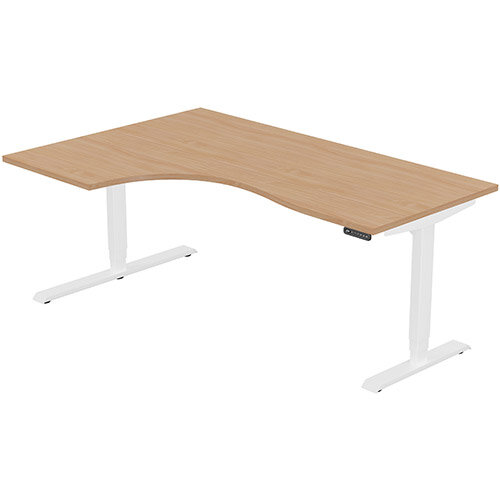 LEAP Electric Height Adjustable Radial Left Hand Sit Stand Desk Plain Top W1800xD1200/800xH620-1270mm Beech Top White Frame. Prevents &Reduces Muscle &Back Problems, Heart Risks &Increases Brain Activity.