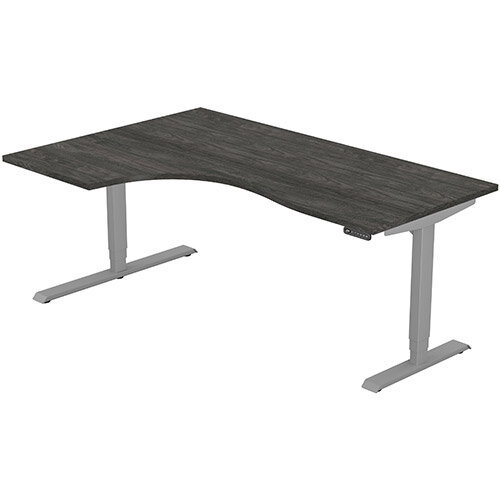 LEAP Electric Height Adjustable Radial Left Hand Sit Stand Desk Plain Top W1800xD1200/800xH620-1270mm Carbon Walnut Top Silver Frame. Prevents &Reduces Muscle &Back Problems, Heart Risks &Increases Brain Activity.