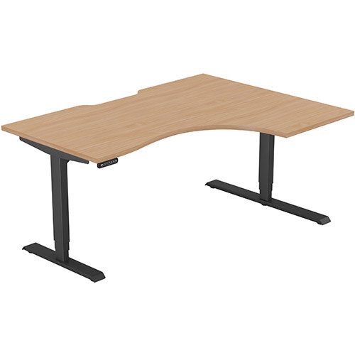 LEAP Electric Height Adjustable Radial Right Hand Sit Stand Desk Scallop Top W1600xD1200/800xH620-1270mm Beech Top Black Frame. Prevents &Reduces Muscle &Back Problems, Heart Risks &Increases Brain Activity.