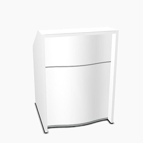 Wave Modern Design Small Straight Reception Desk with White Counter Top &High Gloss White Front W806xD770xH1103mm