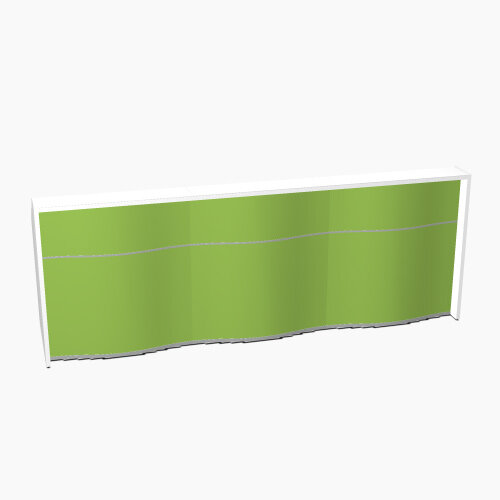 Wave Modern Design Straight Reception Desk with White Counter Top &High Gloss Dark Green Front W2966xD770xH1103mm