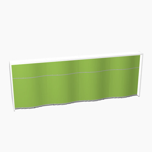 Wave Modern Design Straight Reception Desk with White Counter Top &High Gloss Dark Green Front W3496xD770xH1103mm