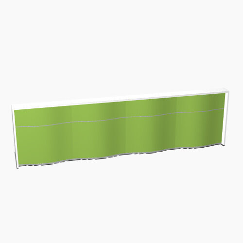 Wave Modern Design Straight Reception Desk with White Counter Top &High Gloss Dark Green Front W3936xD770xH1103mm