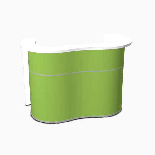 Wave Modern Design Curved Reception Desk with White Counter Top &High Gloss Dark Green Front W1624xD841xH1103mm