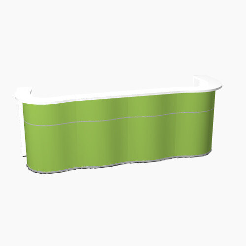 Wave Modern Design Curved Reception Desk with White Counter Top &High Gloss Dark Green Front W3124xD841xH1103mm