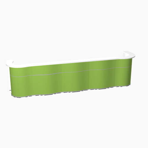 Wave Modern Design Curved Reception Desk with White Counter Top &High Gloss Dark Green Front W4534xD841xH1103mm