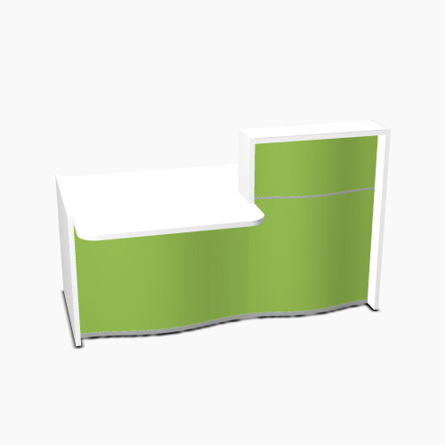 Wave Modern Design Small Straight Reception Desk White Counter Top with Left Low Level Section &High Gloss Dark Green Front W1776xD1034xH1103mm