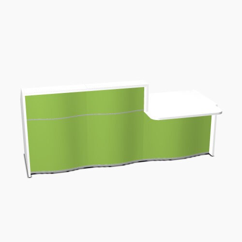 Wave Modern Design Straight Reception Desk White Counter Top with Right Low Level Section &High Gloss Dark Green Front W2526xD1034xH1103mm