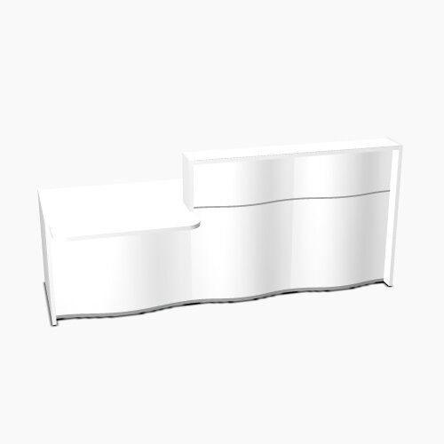 Wave Modern Design Straight Reception Desk White Counter Top with Left Low Level Section &High Gloss White Front W2526xD1034xH1103mm