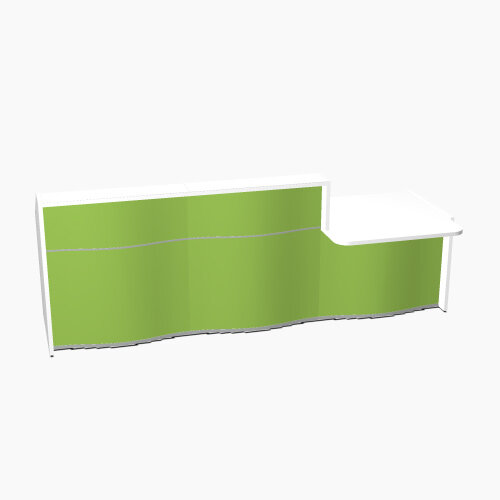 Wave Modern Design Straight Reception Desk White Counter Top with Right Low Level Section &High Gloss Dark Green Front W2966xD1034xH1103mm