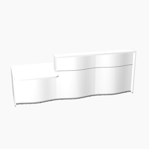 Wave Modern Design Straight Reception Desk White Counter Top with Left Low Level Section &High Gloss White Front W2966xD1034xH1103mm