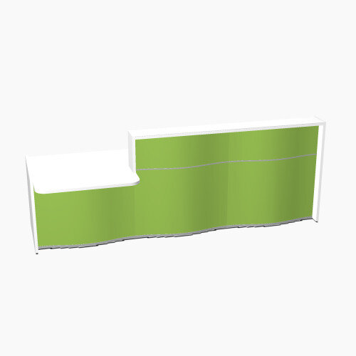 Wave Modern Design Straight Reception Desk White Counter Top with Left Low Level Section &High Gloss Dark Green Front W2966xD1034xH1103mm