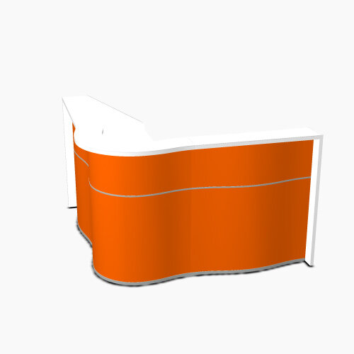 Wave Modern Design Curved Reception Desk with White Counter Top &High Gloss Orange Front W1810xD1810xH1103mm